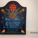 Áldás tábla, Magyar motívumokkal, Otthon, lakberendezés, Falikép, Egyedi kézzel festett, fali ajándéktábla. Mérete:16*20 (cm), Meska