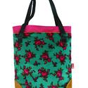 Into bloom táska, Táska, Válltáska, oldaltáska, Varrás, Virágos, élénk színű táska zipzárral és belső zsebekkel. A táska bevasalható vászon merevítővel van..., Meska