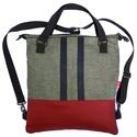 Mailman kézi-, váll- és hátitáska, Táska, Válltáska, oldaltáska, Szövet átalakítható táska bőrrel: lehet hordani kézben, háton, átvetve illetve vállon. Bel..., Meska