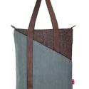 Behind táska, Táska, Válltáska, oldaltáska, Modern szövet táska bőr pánttal, zipzárral, belső zsebbekkel. A táska bevasalható vászon me..., Meska