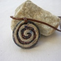 Spriál -  raku nyaklánc, Ékszer, Medál, Nyaklánc, Az alábbi nyaklánc egy különleges kerámiakészítési technikával készült, melynek raku a neve.   A rak..., Meska