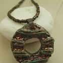 """""""Lenyomatok zöldben""""  raku kerámia nyaklánc, Ékszer, Medál, Nyaklánc, Ez a nyaklánc egy különleges kerámiakészítési technikával készült, melynek raku a neve.   A nyaklánc..., Meska"""