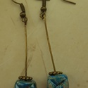 """""""Kék kocka""""  raku kerámia fülbevaló, Ékszer, Fülbevaló, Ez a fülbevaló egy különleges kerámiakészítési technikával készült, melynek raku a neve.   A raku ja..., Meska"""