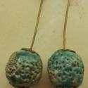 """""""Kék gyöngy""""  raku kerámia fülbevaló, Ékszer, Fülbevaló, Ez a fülbevaló egy különleges kerámiakészítési technikával készült, melynek raku a neve.   A raku ja..., Meska"""