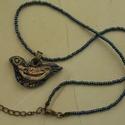 """""""A boldogság kék madara""""  raku kerámia nyaklánc, Ékszer, Medál, Nyaklánc, Ez a nyaklánc egy különleges kerámiakészítési technikával készült, melynek raku a neve.   A nyaklánc..., Meska"""