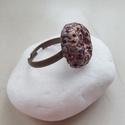 """""""Kőlenyomat"""" - Raku kerámia gyűrű , Ékszer, Gyűrű, Az alábbi gyűrű egy különleges kerámiakészítési technikával készült, melynek raku a neve.   A raku j..., Meska"""