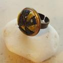 """""""Fekete-sárga csíkos"""" - raku kerámia gyűrű , Ékszer, Gyűrű, Az alábbi gyűrű egy különleges kerámiakészítési technikával készült, melynek raku a neve.   A raku j..., Meska"""