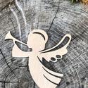 Karácsonyi angyaldísz fából, Dekoráció, Ünnepi dekoráció, Karácsonyi, adventi apróságok, Karácsonyfadísz, Karácsonyi dekoráció, Angyal, rétegelt lemezből, mindkét oldalán csiszolt, natúr színben. 8 db / csomag. Kb 8 cm., Meska