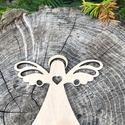 Karácsonyi angyaldísz fából, Dekoráció, Karácsonyi, adventi apróságok, Ünnepi dekoráció, Karácsonyfadísz, Karácsonyi dekoráció, Angyal, rétegelt lemezből, mindkét oldalán csiszolt, natúr színben. 8 db / csomag. Kb 8 cm., Meska