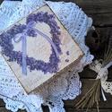 Levendula szíves doboz - teás doboz, , Otthon, lakberendezés, Tárolóeszköz, Doboz, Decoupage, szalvétatechnika, Levendula hangulatban kicsit rusztikus ...  Provence hangulatú doboz levendula mintával és csipkéve..., Meska