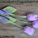 Lila tulik- tulipán csokor textil dekoráció, függő dísz, ajtódísz, Dekoráció, Szerelmeseknek, Dísz, Húsvéti díszek, Varrás, A tavasz üdeségét, frissítését próbáltam ebbe a tulipáncsokorba kötni. Kedves dekoratív ajándék leh..., Meska