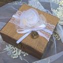 Rusztikus  doboz esküvőre, különleges alkalomra dísz , Esküvő, Nászajándék, Gyűrűpárna, Varrás, Festett tárgyak, Ha   vintage esküvőt tervezel a nagy napra gyűrűtartó doboznak ajánlom számodra ezt a dobozt.  Az i..., Meska