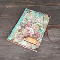 Flowers emlékkönyv A5 -Vintage napló, jegyzetfüzet, receptfüzet , Mindenmás, Naptár, képeslap, album, Baba-mama-gyerek, Jegyzetfüzet, napló, Decoupage, transzfer és szalvétatechnika, Napló ajándékba vagy akár élmények feljegyzésére.  A naplót dekupázsolva készítettem a vintage jegy..., Meska