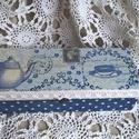 Kék teáskanna-  rekeszes doboz - Teás, doboz, Otthon, lakberendezés, Tárolóeszköz, Doboz, Decoupage, transzfer és szalvétatechnika, Egy csipetnyi romantika a tea kedvelőknek! Nosztalgia teás doboz kékben, szép dekoratív dísze az as..., Meska