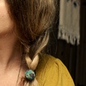 Kender hajgumi, Ruha, divat, cipő, Hajbavaló, Hajgumi, Varrás, Kék és türkiz színre festett kenderből készült a hajgumi. A kör mérete 2,5cm-3cm. , Meska