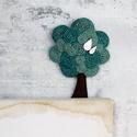 Fa bross, ezüst levelekkel, Ékszer, Bross, kitűző, Varrás, Türkiz kenderből készítettem a brosst,ezüst (nemesfém) levelekkel van díszítve. A leveleket egy ked..., Meska