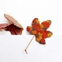 Őszi falevél bross, Ékszer, Bross, kitűző, Varrás, Őszi falevél bross, piros, barna és narancs színű kenderből.. Méret: 9cm + a szára, Meska