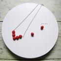 Nyaklánc és fülbevaló (piros), Ékszer, óra, Fülbevaló, Nyaklánc, Piros színre festett viaszolt zsinegből készítettem az ékszereket, ezüst színű kiegészítő..., Meska