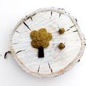 Mustár színű  szett, Ékszer, Bross, kitűző, Fülbevaló, Varrás, Mustár színű kenderből készítettem a brosst és a fülbevalót... Más színben is rendelhető!:) A bross..., Meska