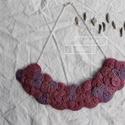 Mályva nyaklánc, Ékszer, Nyaklánc, Medál, Mályva, lila és rózsaszín kenderből készítettem a nyakláncot, ezüst színű kiegészítőkk..., Meska