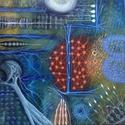 Sejtem, Dekoráció, Képzőművészet, Kép, Festmény, 50x50 cm akril Vászon vakrámára feszítve., Meska