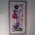 Gésa, Dekoráció, Otthon, lakberendezés, Kép, Textil, 43,5 x 21 cm leszámolható keresztszemes hímzés, 19 színnel, Halványzöld/arany keretben, anti..., Meska