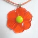Üveg virág - üvegékszer, Ékszer, Medál, Vidám, narancssárga üvegből, tack fusing technikával készült ékszer. Átmérője kb 4,5 cm. ..., Meska