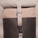 Grey Vízálló hátizsák, Táska, Hátizsák, Válltáska, oldaltáska, Varrás,  Rolltop hátizsák kivül-belül erős vízálló vászonból készült, belül  kulcstartó karabíner és egy zs..., Meska