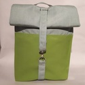 Green vízálló hátizsák, Táska, Hátizsák, Válltáska, oldaltáska, Varrás, Rolltop hátizsák kivül-belül erős vízálló vászonból készült, belül található kulcstartó karabíner é..., Meska