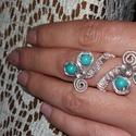 Türkiz drót ékszer, Ékszer, Gyűrű,  Ezüst színű,drótbók készült  gyűrű .Gyűrű mérete 55. Türkiz gyöngy díszíti. De kés..., Meska