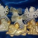 karácsonyi díszek, Dekoráció, Ünnepi dekoráció, Karácsonyi, adventi apróságok, pamut cérnából készült angyalka 9 cm magas és évekig ékes dísze lehet a meghitt karácsonyi..., Meska