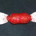 textil szaloncukor, Dekoráció, Ünnepi dekoráció, Karácsonyi, adventi apróságok, Karácsonyi dekoráció, 12 cm hosszú textil szaloncukor. , Meska