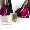 Pink díva - bokréta cipőklipsz , Dekoráció, Esküvő, Cipő, cipőklipsz, Varrás, Ékszerkészítés, A lábaid előtt hever a világ, ha ezt a merész, ciklámen-fekete cipőklipszet viseled. :)  A fekete c..., Meska