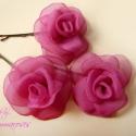 Mini rózsa-szett pink árnyalatban, Ruha, divat, cipő, Hajbavaló, Hajcsat, RENDELHETŐ Visszafogott, aprócska rózsákat varrtam hullámcsatra, ami visszafogott eleganciát kölcsön..., Meska
