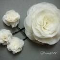 Ekrü rózsa hajdíszek, Esküvő, Hajdísz, ruhadísz, Menyasszonyi hajdísz - szett.  1 nagy rózsa (9-10cm) hajcsattal ekrü árnyalatban  és 3 kis rózsa (kb..., Meska