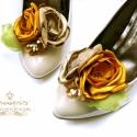Arany bokréta- esküvői  / menyasszonyi / báli  cipőklipsz, Dekoráció, Esküvő, Cipő, cipőklipsz, Ha véletlenül pont Neked sem Manolo Blahnik a cipőd, azért egyet se búsulj. :)) Ezzel a cipőklipssze..., Meska