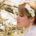 Indás  törtfehér virágkoszorú, Koszorúslányoknak vagy akár kislányoknak is aj...