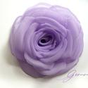 Halvány lila rózsa , Ékszer, Esküvő, Bross, kitűző, Világos lila textilből varrtam szirmonként ezt a rózsát, ami mára védjegyemmé vált, hiszen apró fort..., Meska