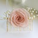 Barackos  rózsa - gyöngyös fésű, Esküvő, Ruha, divat, cipő, Hajbavaló, Egyedi tervezésű fésűs hajdísz menyasszonyoknak, bálozóknak, fotózási kiegészítőként...  A rózsa róz..., Meska