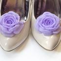Orgonalila rózsa cipőklipsz, Esküvő, Cipő, cipőklipsz, Világos lila cipőklipsz - megrendelésre.   Ennek a klasszikus rózsának az átmérője kb.  6cm.    Nagy..., Meska