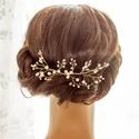 Gyöngyös arany színű fejdísz , Esküvő, Hajdísz, ruhadísz, Menyasszonyoknak ajánlom ezt a gyöngyös fejdíszt, ami hullámcsattal rögzíthető a konty fölött, oldal..., Meska