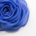 Kék rózsa - kitűző/hajcsat, Ékszer, Bross, kitűző, Ennek a sötétkék, klasszikus textilrózsának minden egyes szirmát magam alakítottam, varrtam.   Hátol..., Meska
