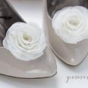 Ekrü rózsa cipőklipsz - stilizált forma, Esküvő, Cipő, cipőklipsz, Ekrü cipőklipsz (Tetszőleges egyéb színben is készülhet - előzetes egyeztetés alapján.)  Ennek a kla..., Meska