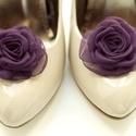 Sötét padlizsán cipőklipsz , Dekoráció, Esküvő, Cipő, cipőklipsz, Megrendelésre készülő cipőklipsz. A padlizsán NAGYON sötét árnyalata!  Ennek a klasszikus rózsának a..., Meska
