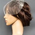 Mini fátyol, Esküvő, Hajdísz, ruhadísz, Kiváló minőségű, leheletfinom tüllből készült  fátyol, melyet két oldalt egy-egy hullámcsattal lehet..., Meska