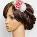 Frida hajpánt  , Esküvő, Hajdísz, ruhadísz, Rózsaszín és ekrü (kézzel varrt) virágok kerültek hajpántra - ekrü csipkével, mini papírvirággal  és..., Meska