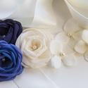 Sötétkék szaténöv rózsákkal , Ruha, divat, cipő, Esküvő, Öv, Sötétkék, indigókék és ekrü rózsák - mellettük még vikágosabb kis virágok - szatén övön.  A díszítés..., Meska