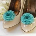 Türkiz cipőklipsz , Dekoráció, Esküvő, Cipő, cipőklipsz, Varrás, Ékszerkészítés, Megrendelésre készülő cipőklipsz.   Ennek a klasszikus rózsának az átmérője kb. 6-7 cm.    Nagyon f..., Meska