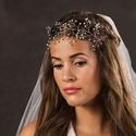 Gyöngyös ezüst fejdísz virággyöngyökkel, Esküvő, Baba-mama-gyerek, Hajdísz, ruhadísz, Menyasszonyoknak ajánlom ezt az ezüst színű hajdíszt. Viselheted a homlokot takarva vagy hajpántként..., Meska