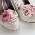 Púderes bokréta cipőklipsz, Dekoráció, Esküvő, Cipő, cipőklipsz, Cipőklipsz megrendelésre  Tökéletes választás partira, buliba, fotózáshoz, vagy épp esküvői rendezvé..., Meska